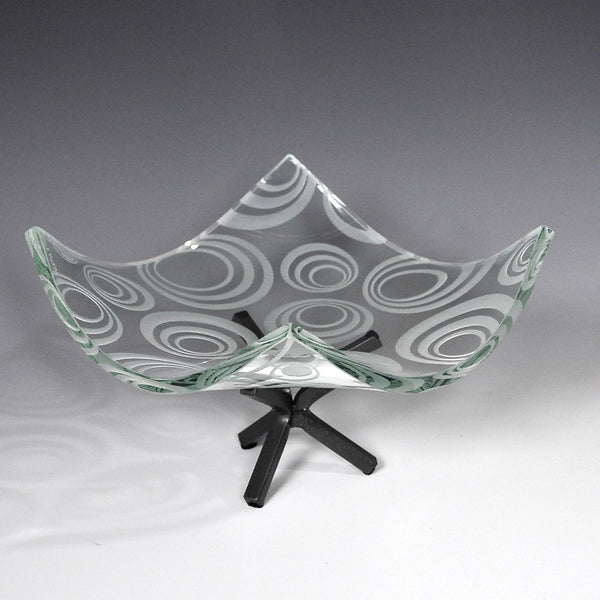 Etched Glass Modernist Decorative Bowl