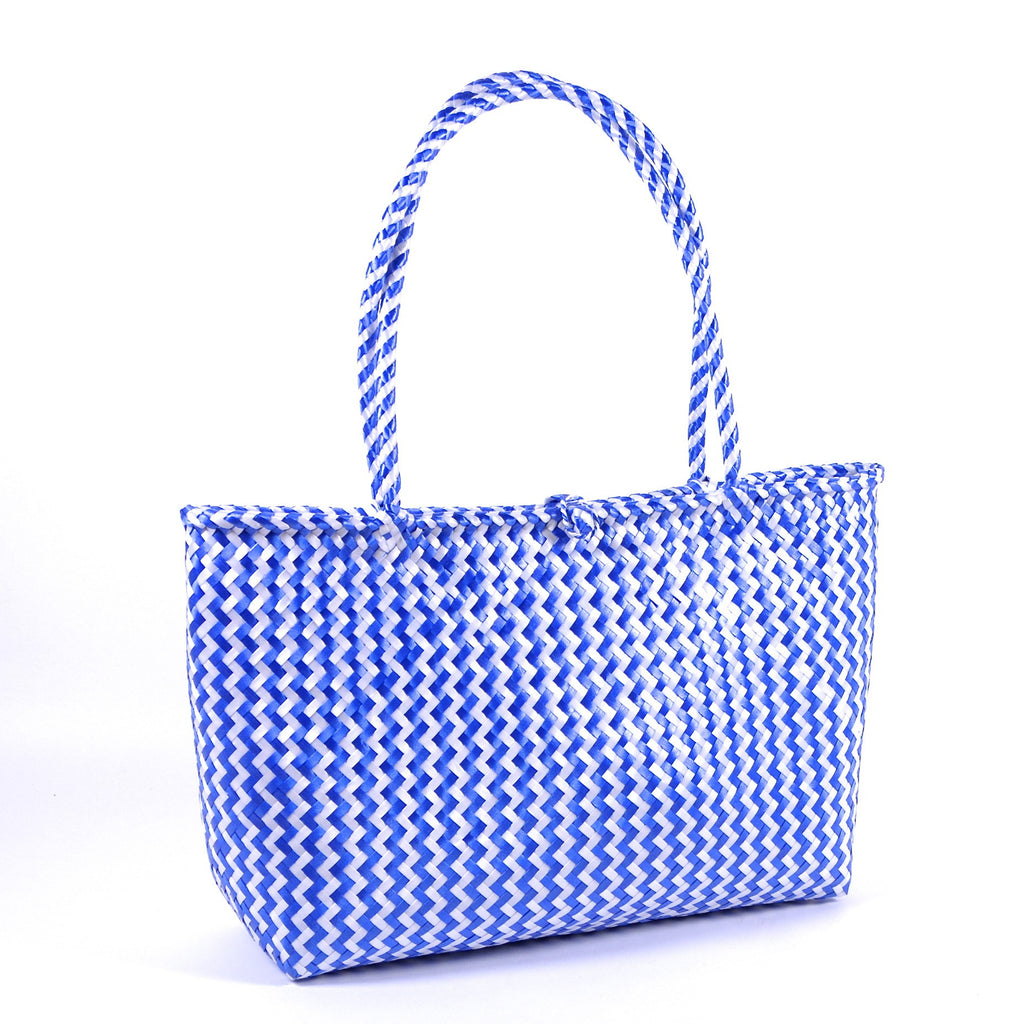 Hand Woven Plastic Market Bag with Button (Medium)