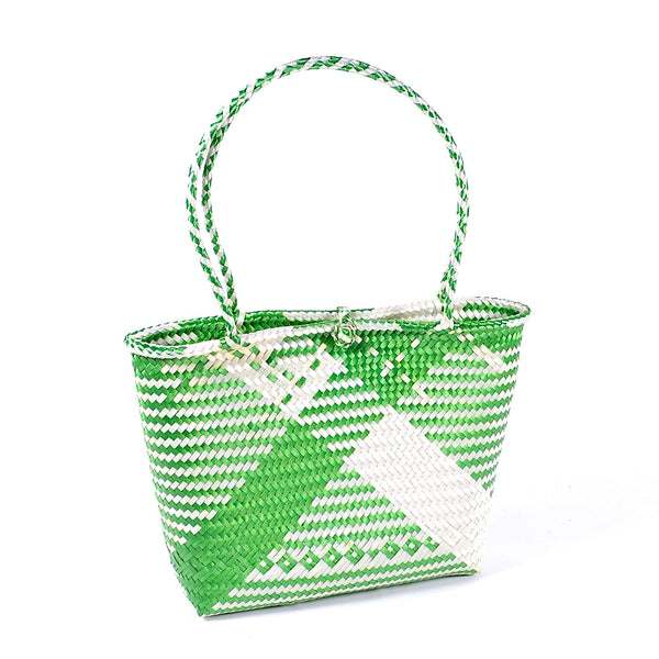 Hand Woven Plastic Market Bag with Button (Small)