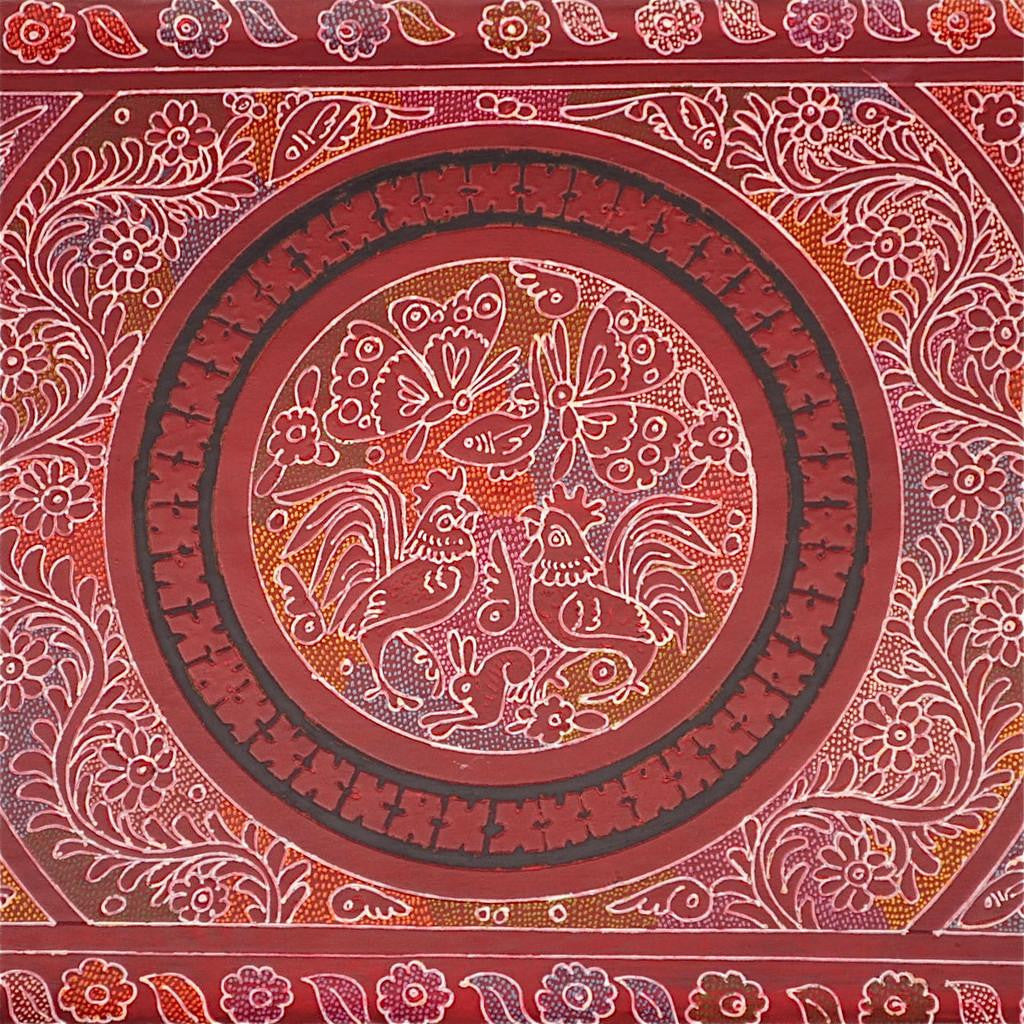 "Large Olinala Lacquer Tray ""Crimson Forest"""