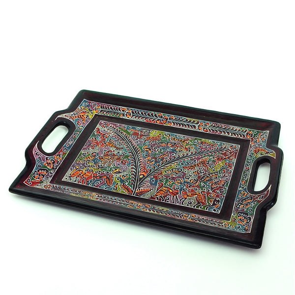 "Large Olinala Lacquer Tray ""Colorful Forestscape"""