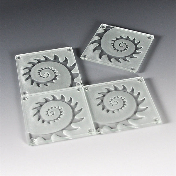 "Etched Glass Coasters by Juan Vargas (Set of 4) — ""Caracol"""