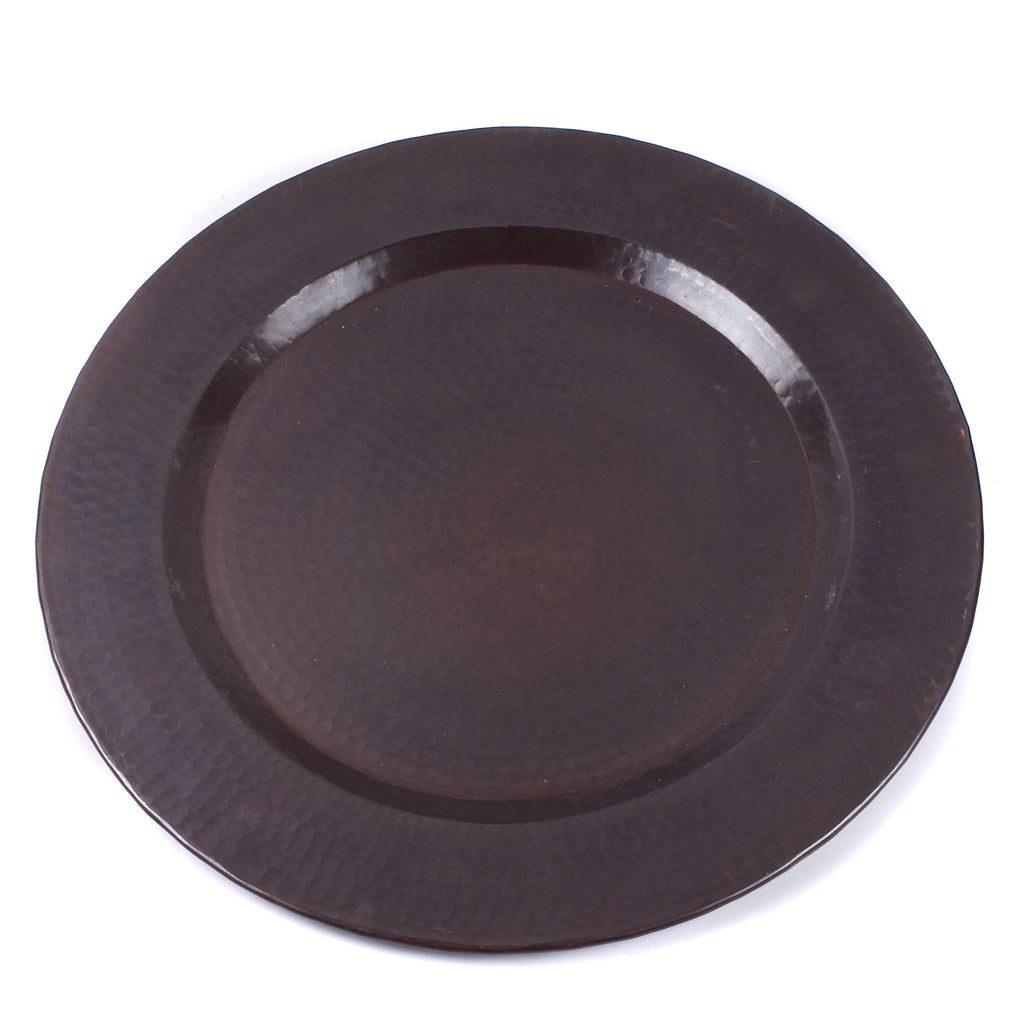 Hammered Copper Charger Plate / Dark Finish