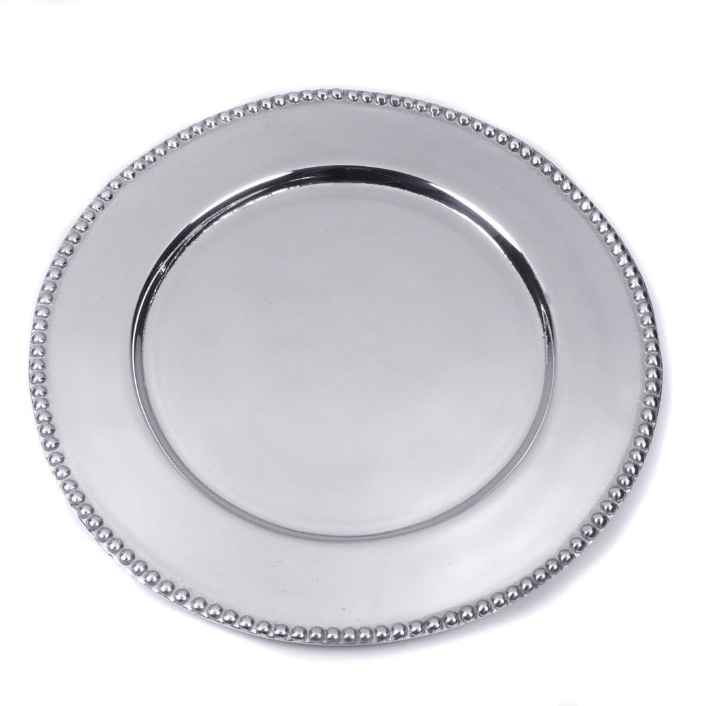 Mexican Pewter Beaded Charger Plate