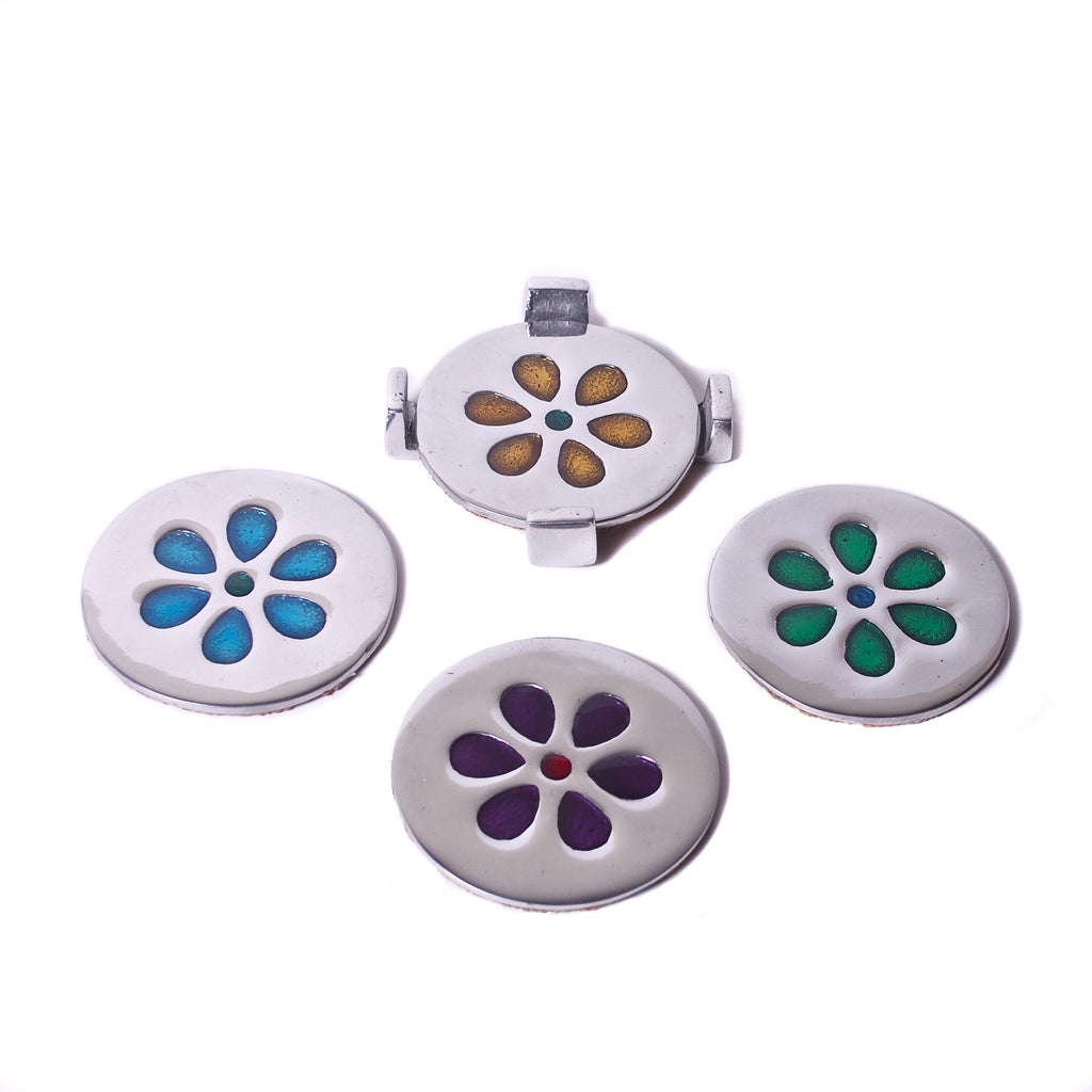 Mexican Pewter Flower Power Coasters (Set of 4)