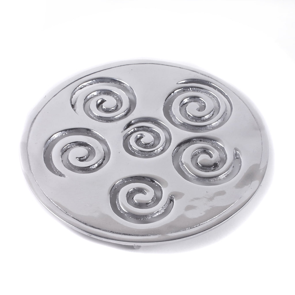 Mexican Pewter Spiral Trivet / Hot Plate