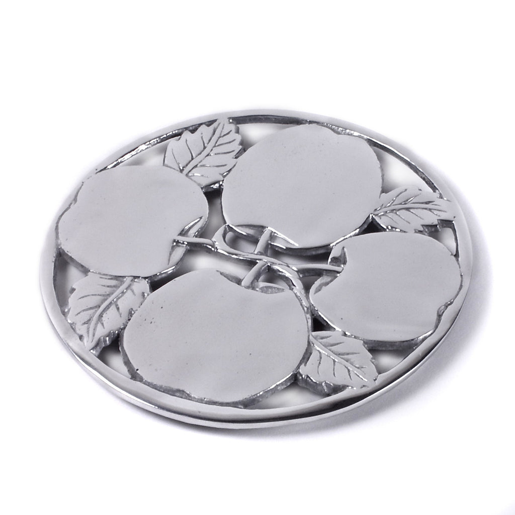 Mexican Pewter Apple Harvest Trivet / Hot Plate