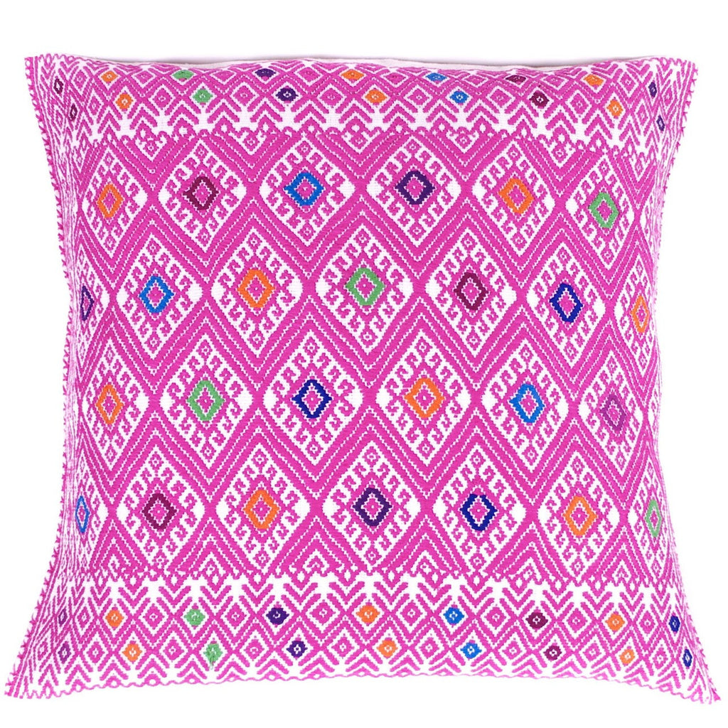 Hand-Embroidered Rose Pillow from Chiapas