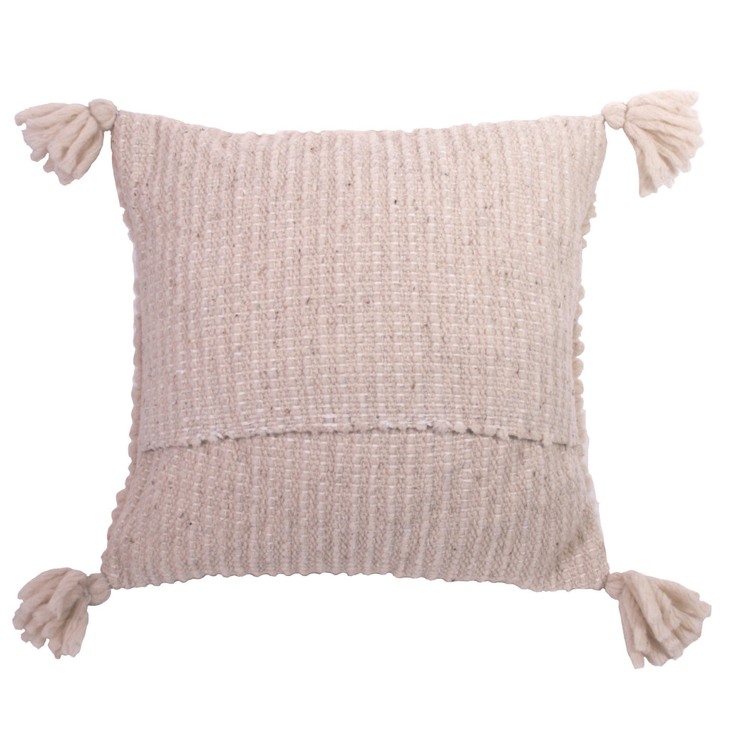 Hand-Woven Natural Wool Pillow Cover / Square Pattern