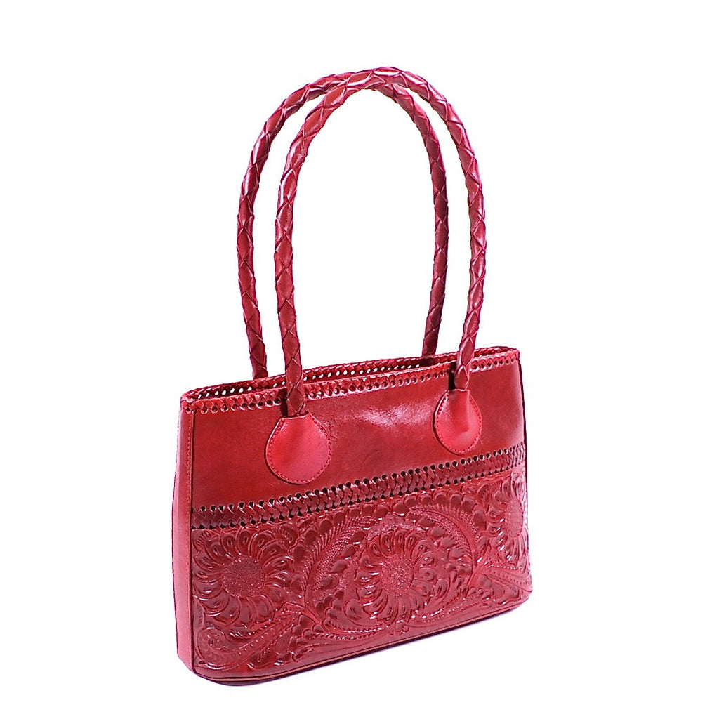 Hand Carved Pomegranate Leather Handbag by Yeo Designs (CCH)