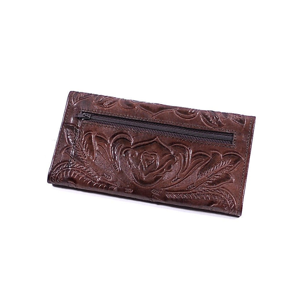 Hand Carved Chocolate Brown Leather Women's Wallet by Yeo Designs