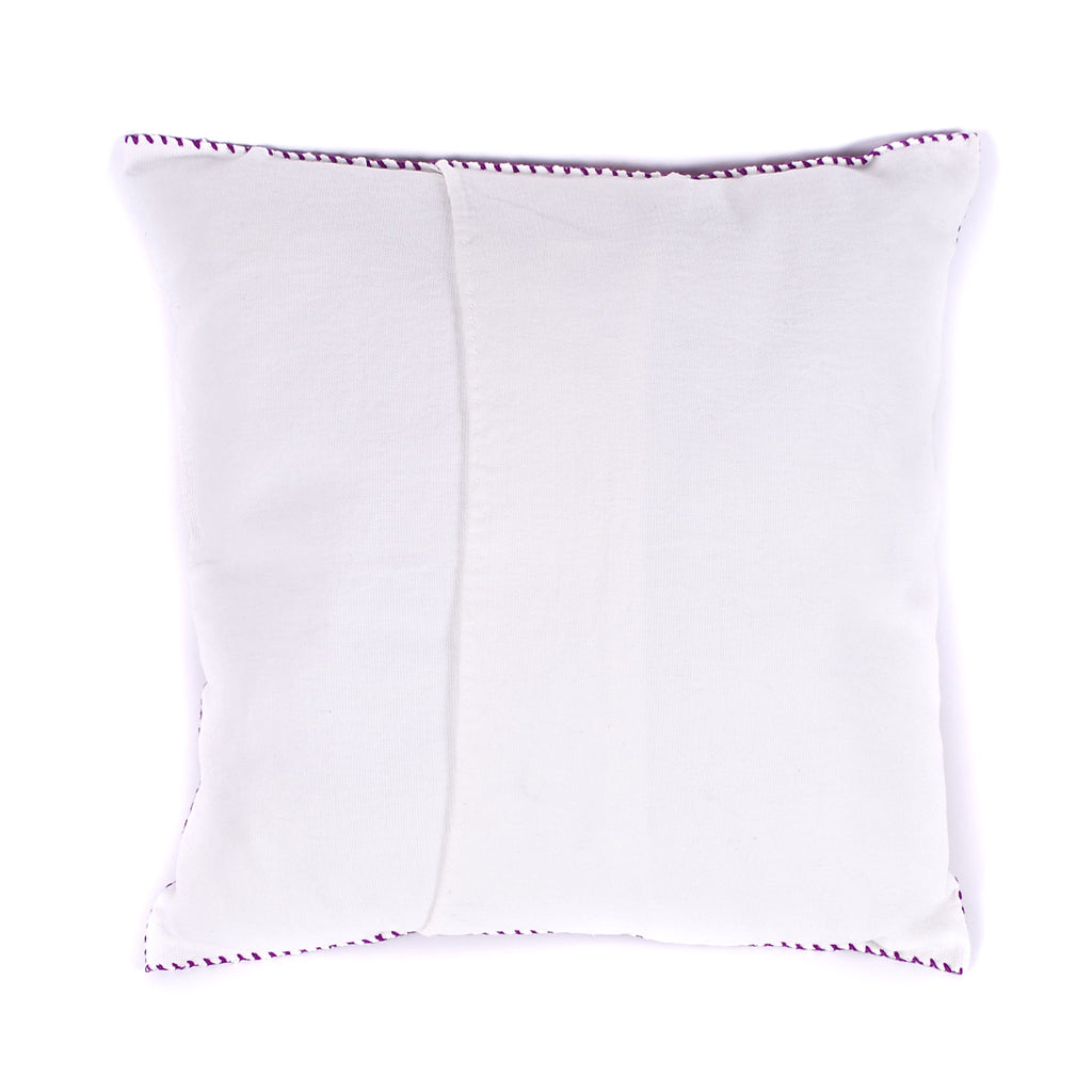 Hand-Embroidered Violet Pillow from Chiapas