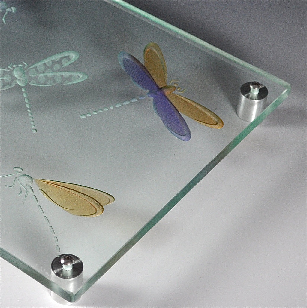 "Etched Glass Cheese/Sushi Plate by Juan Vargas — ""Colorful Dragonflies"""