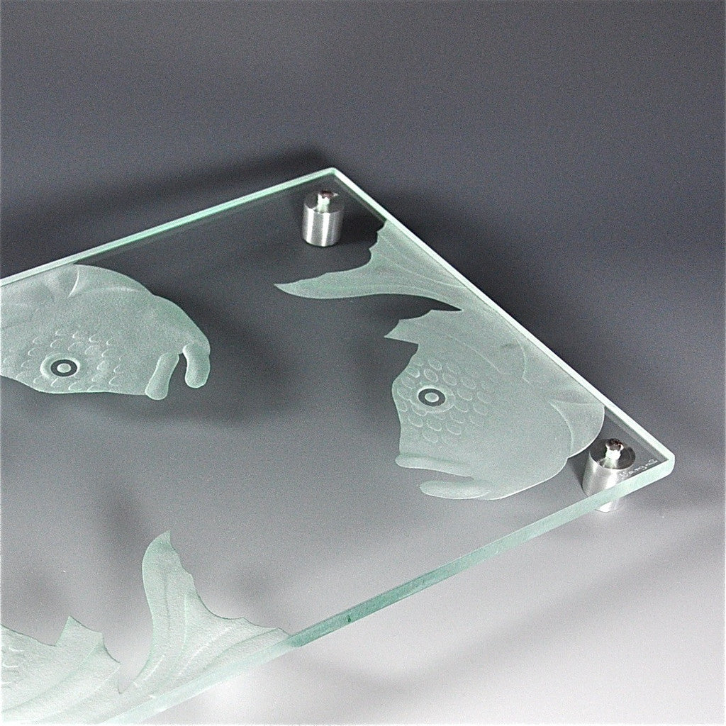 "Etched Glass Large Serving Platter by Juan Vargas — ""Finned Friends"""