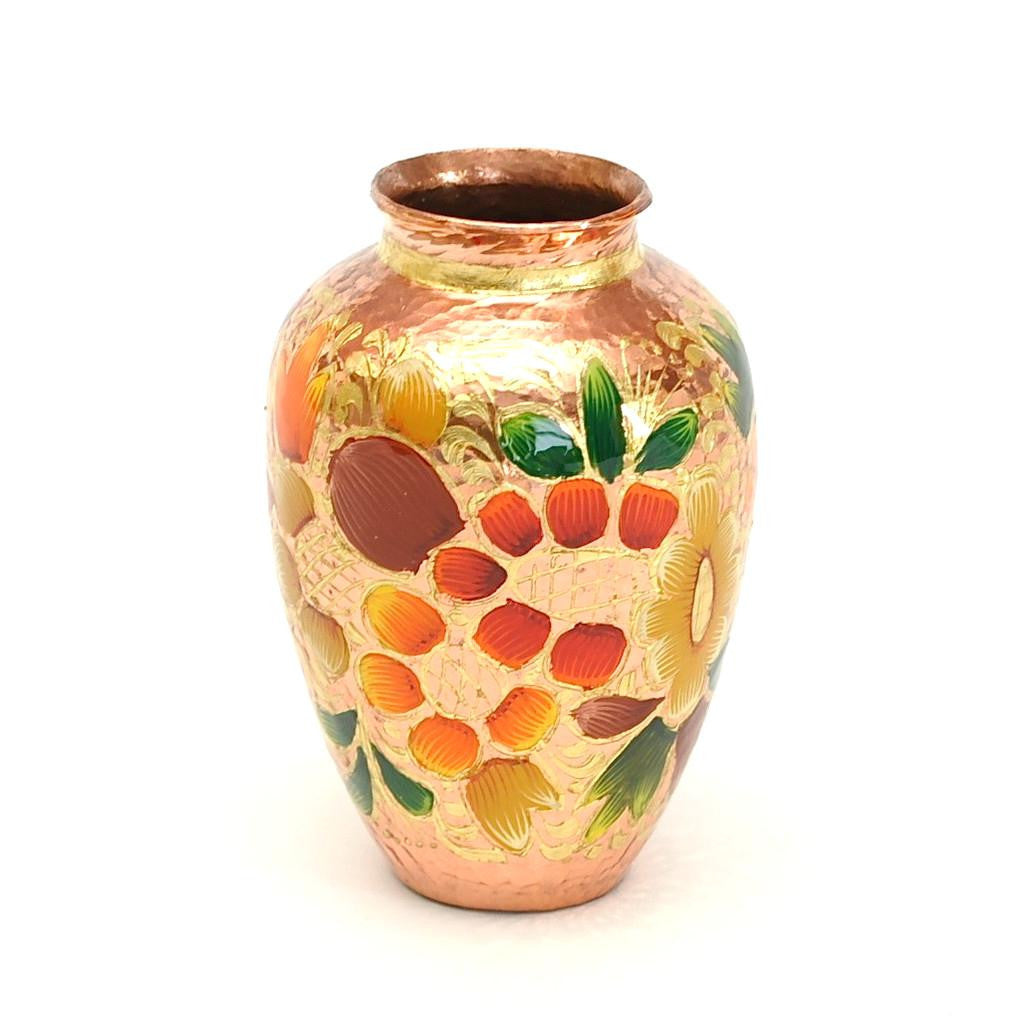Small Hand Painted Hammered Copper Vase with Gold Leaf