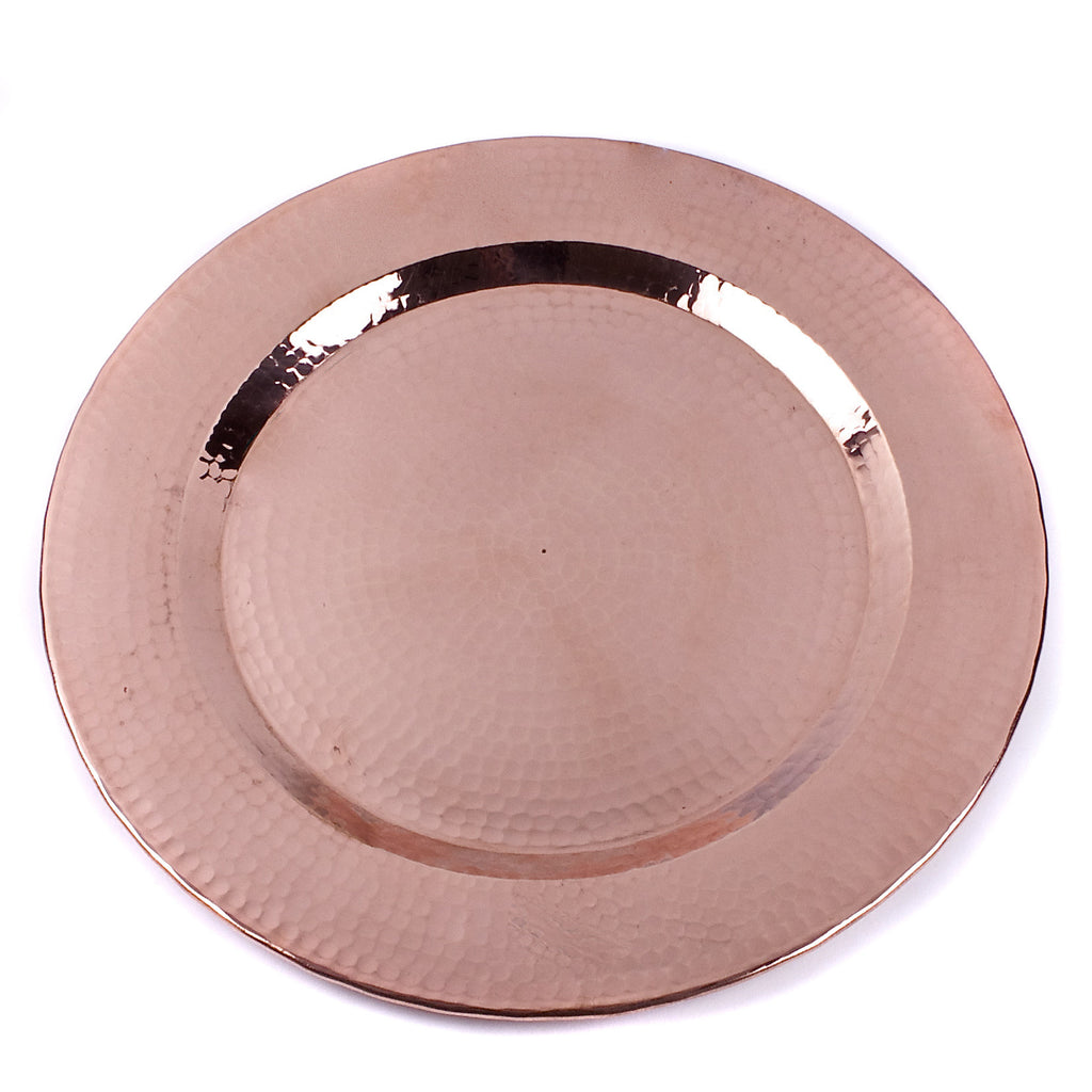 Hammered Copper Charger Plate / Polished Finish