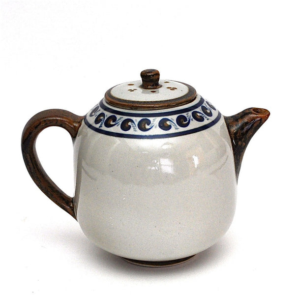 Large Hand Painted Stoneware Tea Pot by Xochiquetzal