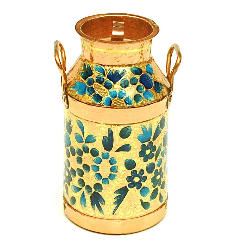Hammered Copper Decorative Milk Can with Gold Leaf