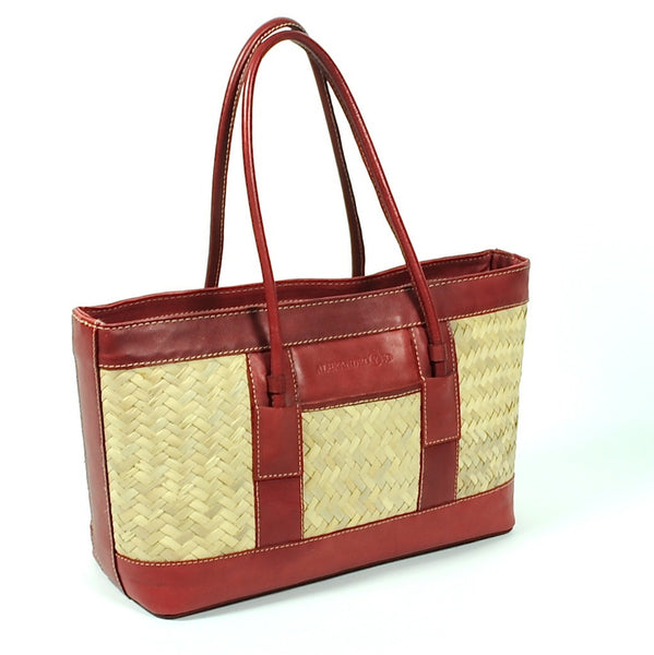 leather and Woven Palm Handbag by Yeo Designs