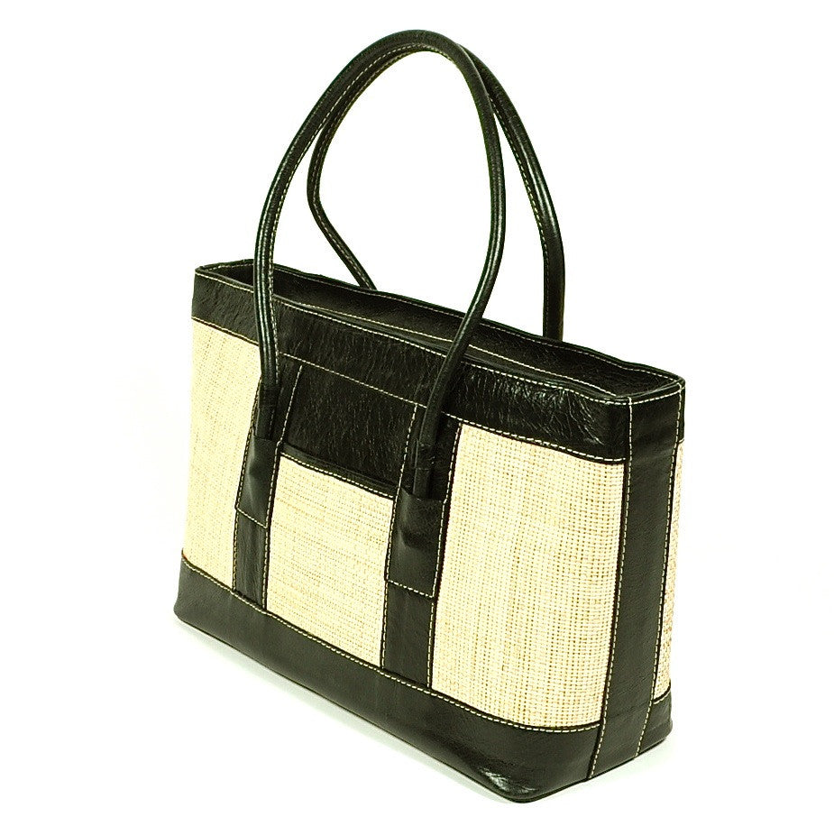 "Leather and Woven ""Yute"" Handbag by Yeo Designs"