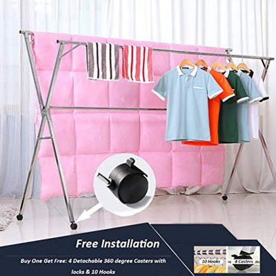 43.3-59 inches Free Installed Foldable Stainless Steel Clothes Drying Rack