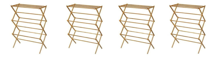 Indoor Folding Wooden Clothes Drying Rack by Household Essentials
