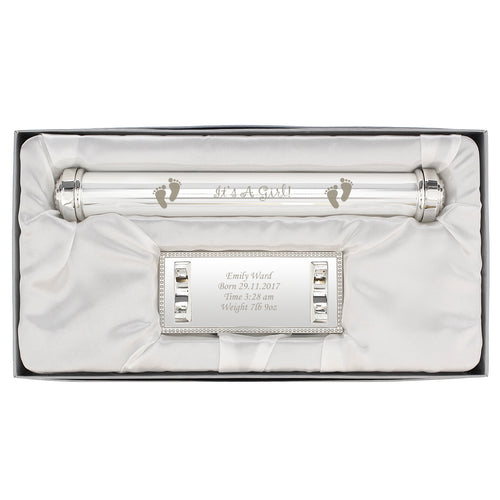 Personalised Its A Girl Silver Plated Certificate Holder