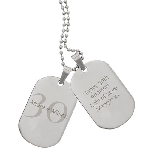Personalised Big Age Stainless Steel Double Dog Tag Necklace