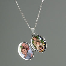 Load image into Gallery viewer, Personalised Sterling Silver Oval Locket Necklace
