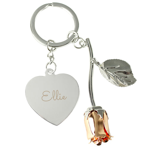 Personalised Silver Plated Name Rose Gold Rose Keyring