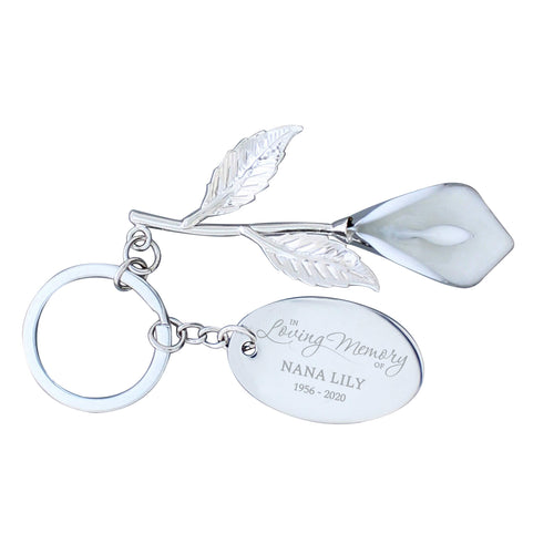 Personalised Silver Plated 'In Loving Memory' Calla Lily Keyring