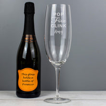 Load image into Gallery viewer, Personalised 'Pop Fizz Clink' Bottle Of Prosecco Glass