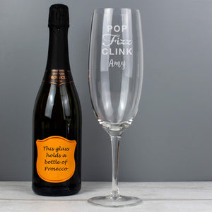 Personalised 'Pop Fizz Clink' Bottle Of Prosecco Glass