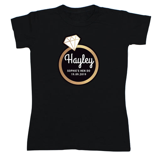 Personalised Gold Bling Ring Hen Party T-Shirt - Black Medium