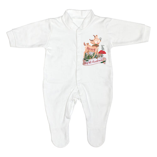 Personalised Festive Fawn 0-3 Months Baby Grown