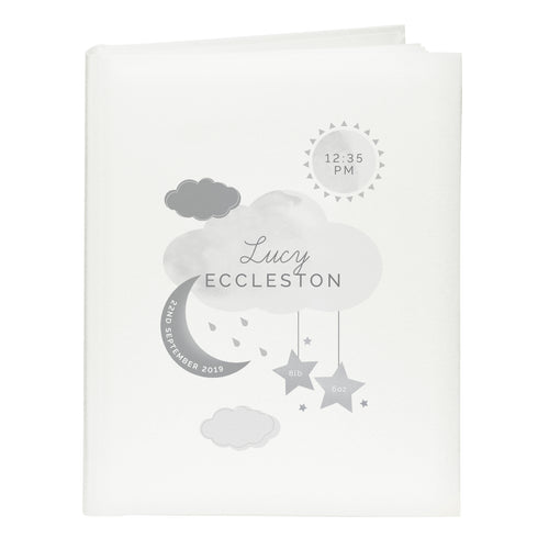 Personalised New Baby Moon & Stars Album with Sleeves