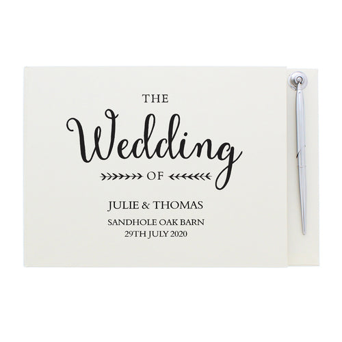 Personalised Rustic Wedding Hardback Guest Book & Pen