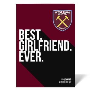 West Ham United FC Best Girlfriend Ever Card