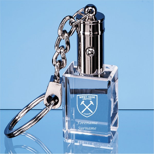 West Ham United FC Personalised Crest LED Keyring