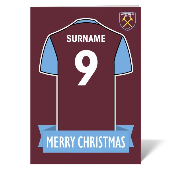 West Ham United FC Shirt Christmas Card