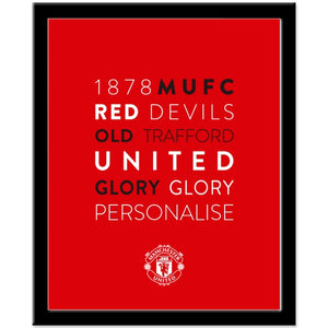 Manchester United FC Word Collage Framed Print