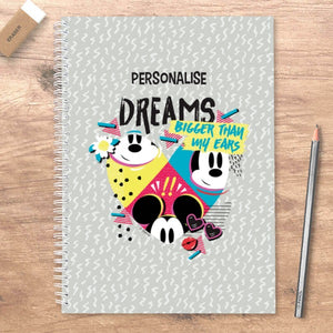 Disney Mickey Mouse Bigger Dreams Personalised A5 Notebook