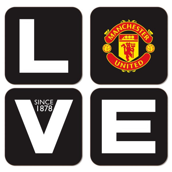 Manchester United FC Love Coasters (x4)