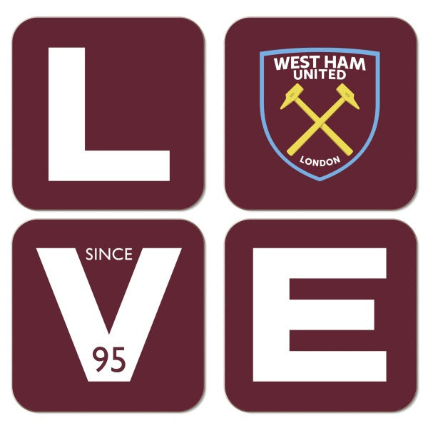 West Ham United FC Love Coasters (x4)