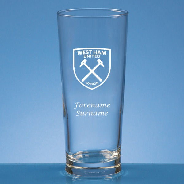 West Ham United FC Personalised Crest Straight Sided Beer Glass
