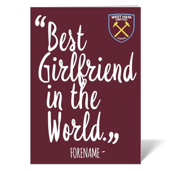 West Ham United FC Best Girfriend In The World Card
