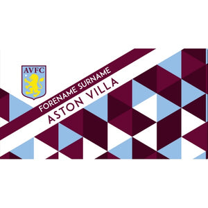 Aston Villa Personalised Towel - Geometric Design - 70 x 140