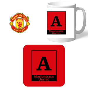 Manchester United FC Monogram Mug & Coaster Set