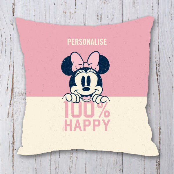 Disney Minnie Mouse 100% Happy Personalised Cushion