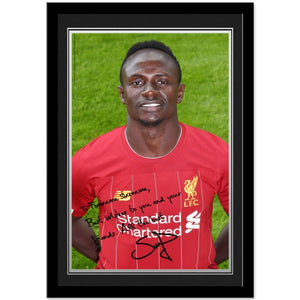 Liverpool FC Mané Autograph Photo Framed